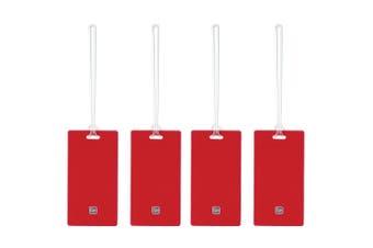 4pc Go Travel 11cm Tag Me Slim Identify Luggage Bag Labels w/ Plastic Loops Red