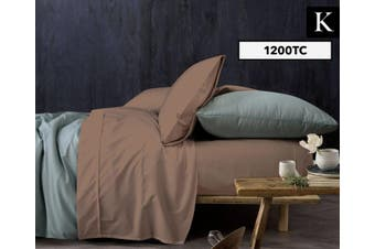 Sapphire Collection 1200TC King Bed Sheet Set Flat/Fitted Sheet/Pillow Case BRWN