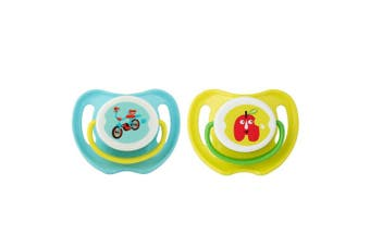 Pigeon Calming Baby Dummy Soother/Pacifier Twin Pack Bike/Apple Small 0+ Months