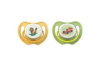Pigeon Calming Baby Dummy Soother/Pacifier Twin Pack Car/Horse Medium 3+ Months