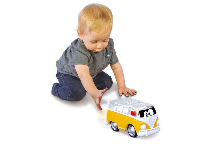 BB Junior 11cm Volkswagen Push Back & Go Poppin Bus w/ Balls Toy Kids 9m+ Yellow