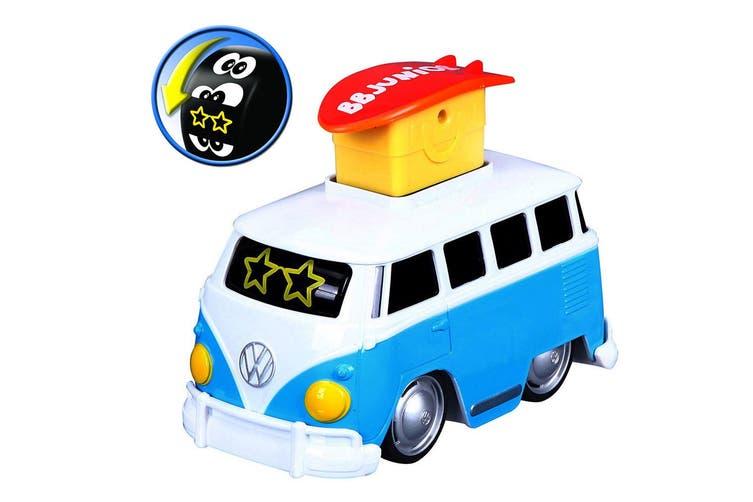 2x BB Junior 15cm Volkswagen Expression Changes/Press & Go Bus Toy Kids 9m+ Blue