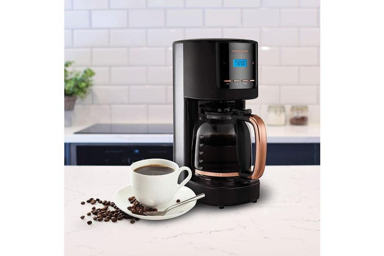 Morphy Richards 1100W Accents 1.8L/12Cup Filter Coffee Machine Rose Gold/Black