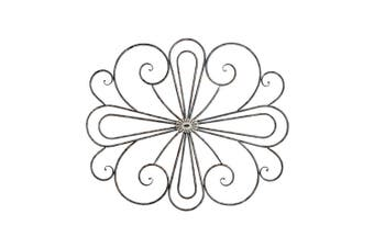 Decorative Metal Fleur 77cm w/ Moulded Centre Wall Hanging Art Home Decor Brown