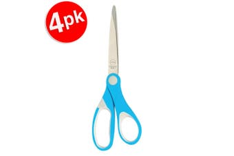 4x Marbig Comfort Grip Kids 135mm Stainless Steel Blade Paper/Cloth Scissor Blue