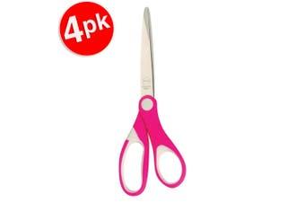 4x Marbig Comfort Grip Kids 135mm Stainless Steel Blade Paper/Cloth Scissor Pink