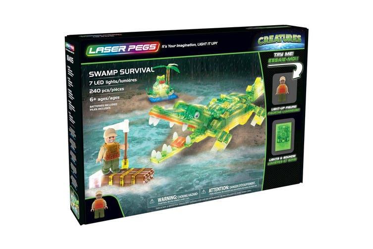 Laser Pegs 160pc Building Blocks/Bricks LED Lights Swamp Survival Kids 6y+ Toys