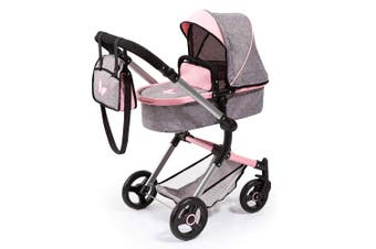 BayerCity Vario Foldable Pram/Stroller Toy 3y+ for 50cm Doll Grey/Pink Butterfly