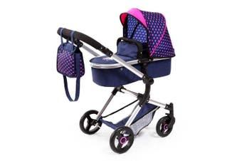 BayerCity Vario Pram/Stroller 3y+ Toy for 50cm Doll Hearts/Unicorn Dark Blue/PK