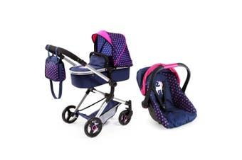 2pc BayerCity Vario Pram/Car Capsule for Toy Doll Hearts & Unicorn Dark Blue/PK