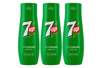 3x Sodastream 440ml 7 Up Flavour Soda/Sparkling Water/Drink Syrup/Mix Makes 9L