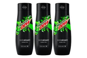 3x Sodastream 440ml Mountain Dew Soda/Sparkling Water/Drink Syrup/Mix Makes 9L