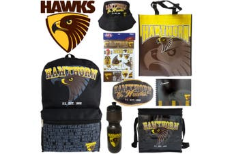 AFL Hawks Kids Showbag w/Backpack/Bottle/Football/Autograph Book/Bucket Hat