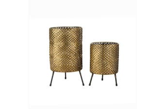 Set/2 Nested Aura Fanned Planters/Candleholders on Legs 21x36/18x26cm