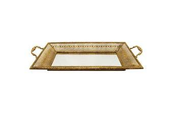 Lustre 52cm Hive Decorative Tray w/ Mirror/Handles Metal/Glass Home Decor Gold