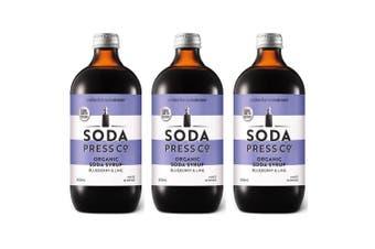 3PK SodaStream 500ml Soda Press Organic Syrup/Mix 50% Less Sugar Blueberry Lime