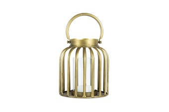 Contemporary Metal 14.5cm Table Candle Holder Lantern w/Handle/Glass Decor Gold