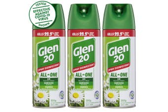 3PK Glen 20 Disinfectant Spray 300g Kills 99.9% of Germs Country Scent