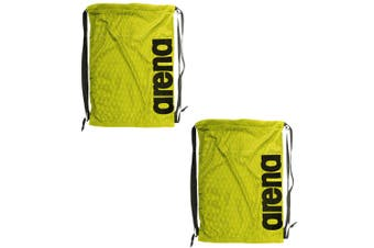 2PK Arena Fast Mesh Backpack Bag f/ Swimming Suits/Sports Training Fluro Yellow