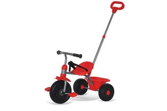 Trike Star 2-1 Tricycle Kids/Toddler Ride On w/Parent Handle/Toy Bucket Red 15m+
