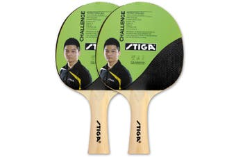 2pc Stiga Challenge Set Table Tennis Bat Ping Pong Game Racket Rubber Black/Red