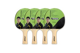 4pc Stiga Challenge Set Table Tennis Bat Ping Pong Game Racket Rubber Black/Red