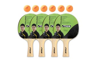 4pc Stiga Challenge Set Table Tennis Bat Ping Pong Game Racket/6pk Summit Balls