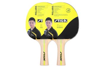 2pc Stiga Polaris Table Tennis Bat Ping Pong Game Racket Paddle Rubber Black/Red