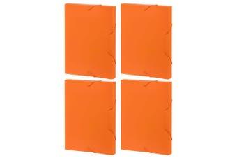 4PK Marbig A4 Document Box File/Paper Plastic Organiser Storage Case Folder OR