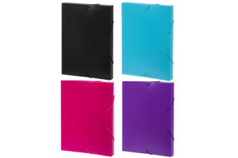 4PK Marbig A4 Document Box File/Paper Plastic Organiser Storage Case Assorted