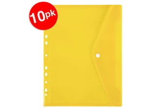 10x Marbig A4 Binder Wallet Pocket with Button Closure for 2/3/4 Ring Binder YEL
