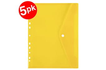 5x Marbig A4 Binder Wallet Pocket with Button Closure for 2/3/4 Ring Binder YEL