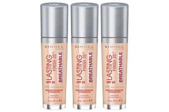 3x Rimmel London  010 Light Porcelain 30ml Face Foundation Lasting Finish 25HR