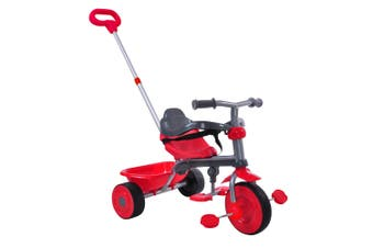 Trike Star 2-1 Deluxe Tricycle Kids Ride-On w/ Handle/Toy Bucket Red 15m+/24m+