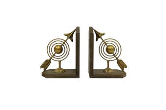Golden Orb 22cm w/Arrows Bookend Set Home/Office Stationery Supplies Decor Brown