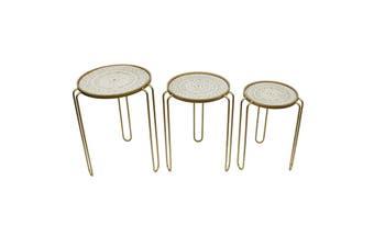 3pc Nested Marseilles 60cm/56cm/50cm Occasional Side Tables Desk Furniture Decor