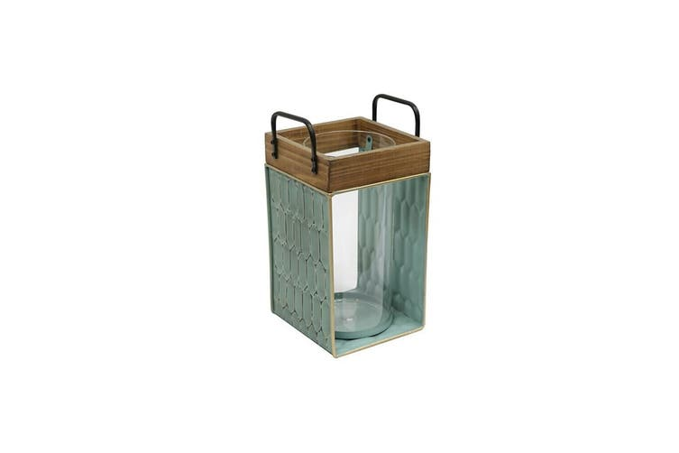 Tierra 31cm Iron/Wood Table Decorative Lantern Candle Holder Home Decor Green