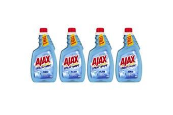 4x Ajax Spray Wipe 500ml Glass Anti-Fog/Anti-Scratch/Anti-Streak Cleaner Refill