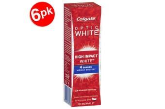 6x Colgate Optic High Impact White 85g Whitening Toothpaste w/Hydrogen Peroxide