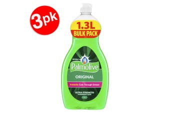 3x Palmolive 1.3L Original Ultra Strength Dishwashing Liquid/Soap Concentrate
