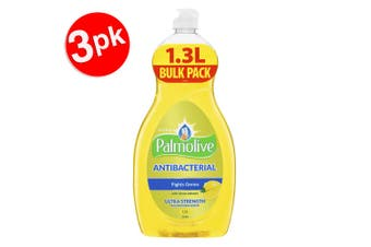 3x Palmolive 1.3L Antibacterial Ultra Dishwashing Liquid/Soap Concentrate Lemon