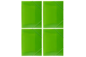 4PK Marbig A4 Document Wallet Brights File/Paper Storage Organiser Folder Lime