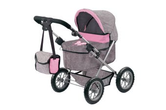 Bayer Trendy Doll Pram/Stroller Kids/Children Toy 3y+ for 46cm Doll Grey/Pink