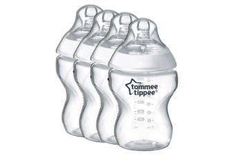 4PK Tommee Tippee 260ml Feeding Bottles w/ Silicone Teat Baby/Newborn 0m+ Clear