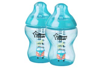 2PK Tommee Tippee 260ml Feeding Bottle w/Silicone Teat Baby/Newborn Patterned BL