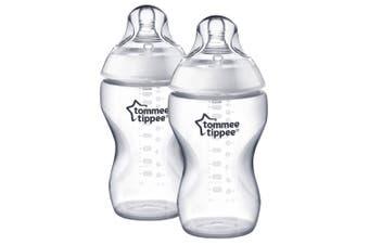 2PK Tommee Tippee 340ml Feeding Bottles w/ Silicone Teat Baby/Newborn 0m+ Clear