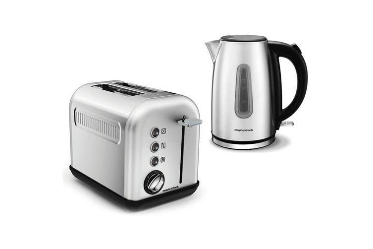 Morphy Richards Equip 1.7L Kettle & 2 Slice Toaster Brushed Stainless Steel