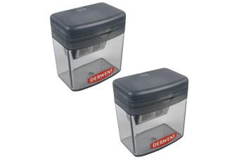 2x Derwent Two/Twin Hole Stationery School/Office Supplies Pencil Sharpener Grey