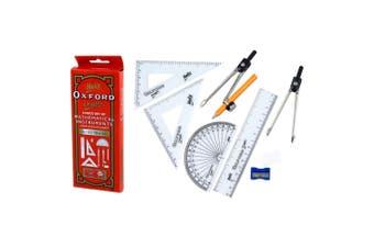 9pc Helix Mathematical Instruments Study Set School Ruler/Protractor w/Metal Box