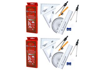 2x 9pc Helix Mathematical Instruments Study Set School Ruler/Protractor w/ Box
